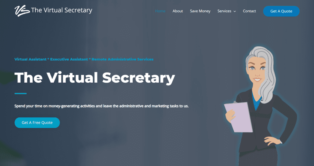 the virtual secretary virtual assistant website cover